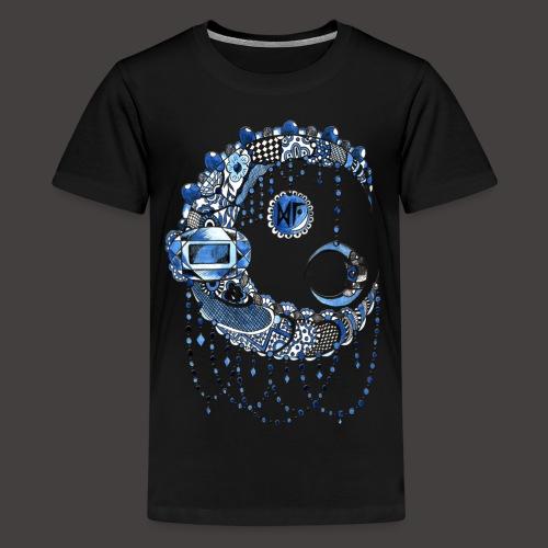 Lune dentelle bleue fonce - T-shirt Premium Ado