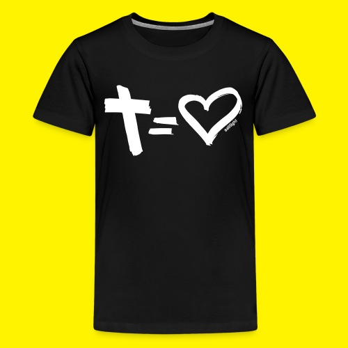 Cross = Heart WHITE // Cross = Love WHITE - Teenage Premium T-Shirt