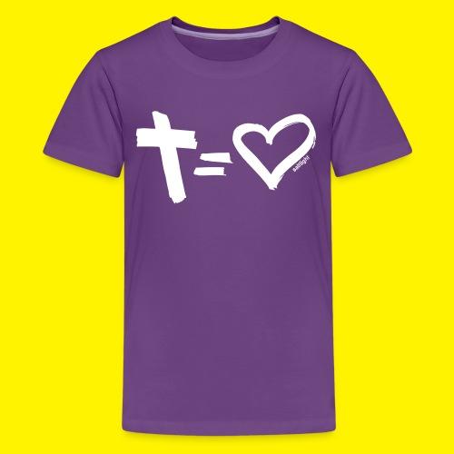 Cross = Heart WHITE // Cross = Love WHITE - Teenage Premium T-Shirt