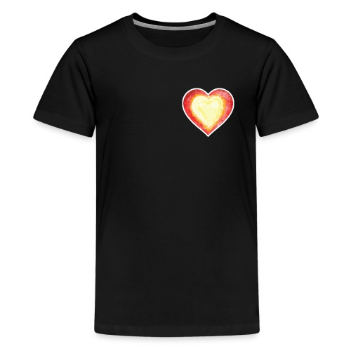 Burning Fire heart - Teenage Premium T-Shirt