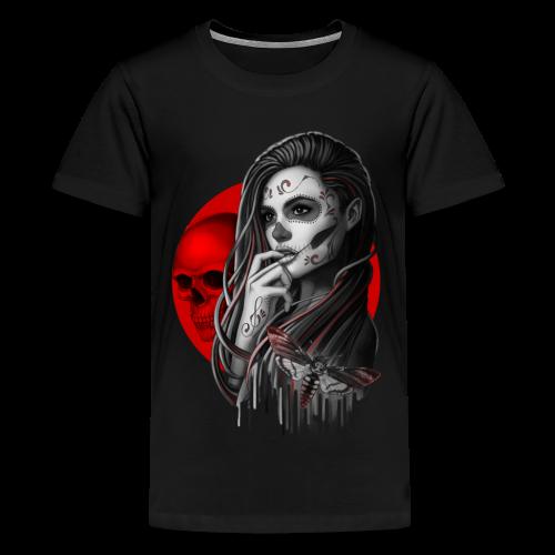 Sugar Skull Girl Hawk-Moth - Teenage Premium T-Shirt