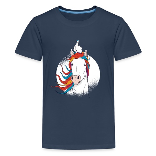 Cartoon Einhorn Mittelfinger Design - Teenager Premium T-Shirt