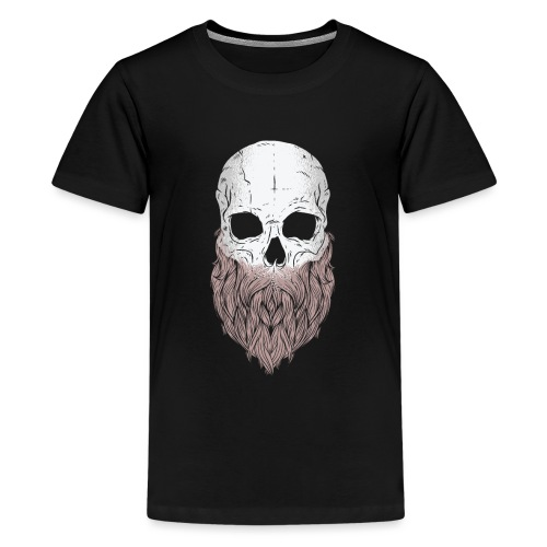Cartoon bärtiger Schädel Design - Teenager Premium T-Shirt