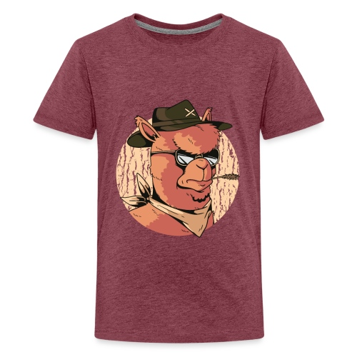 Cartoon Alpaka Brillen Design - Teenager Premium T-Shirt