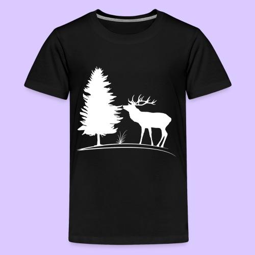 Hirsch, Geweih, Rehbock, Jagd, Wald, Baum, Wild - Teenager Premium T-Shirt
