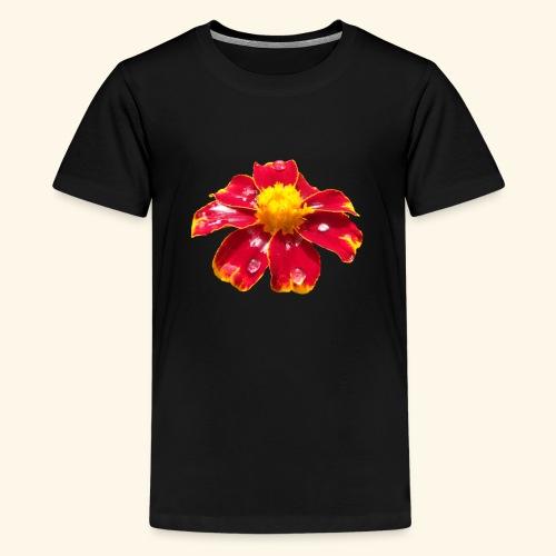 rote Ringelblume mit Regentropfen, Blume, Blüte - Teenager Premium T-Shirt