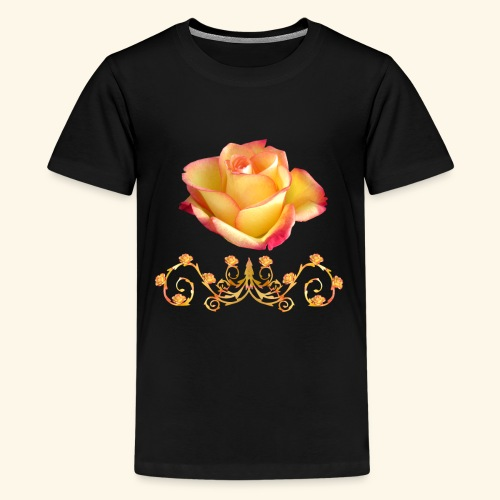 orange Rose, Ornament, Rosen, Blumen, Blüten, edel - Teenager Premium T-Shirt