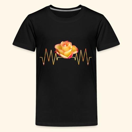 Rose, Herzschlag, Rosen, Blume, Herz, Frequenz - Teenager Premium T-Shirt