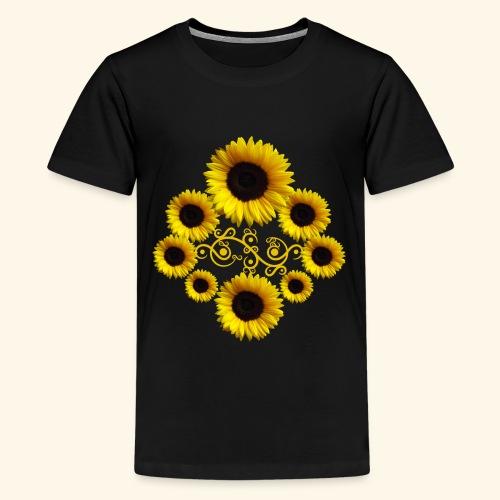 Sonnenblumen mit Ornament, Sonnenblume, Blumen - Teenager Premium T-Shirt