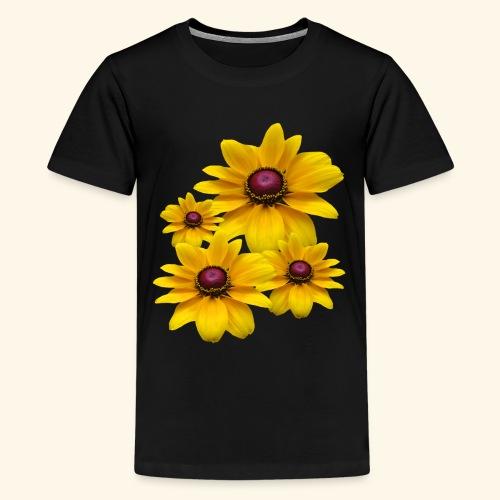 gelb blühende Sonnenhut Blumen, Blüten, floral, - Teenager Premium T-Shirt