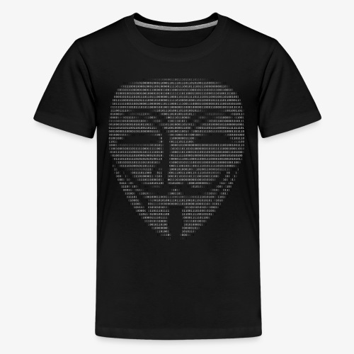 Guy Fawkes Mask Binary - Teenage Premium T-Shirt