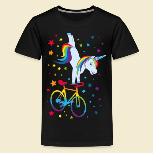 Kunstrad   Einhorn Handstand Regenbogen - Teenager Premium T-Shirt