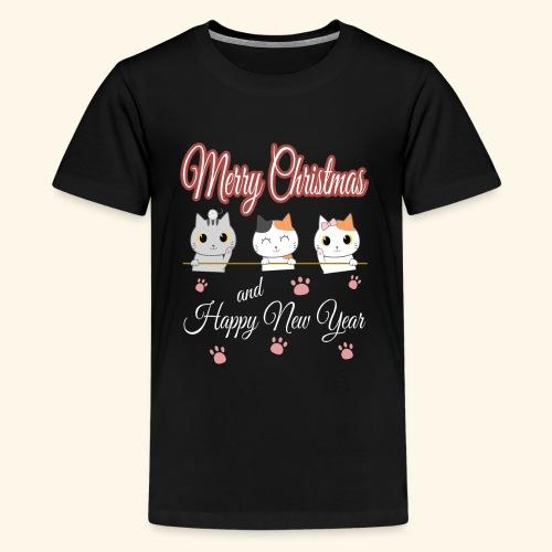Cat Cats Katze Katzen Weihnachten Merry Christmas - Teenager Premium T-Shirt
