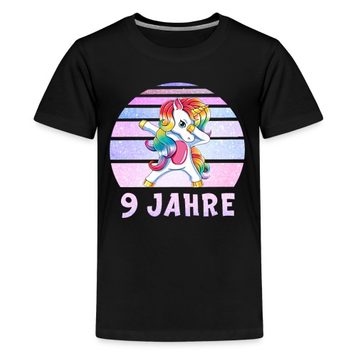 Dabbing Einhorn Geburtstagsshirt 9 Jahre Mädchen - Teenager Premium T-Shirt