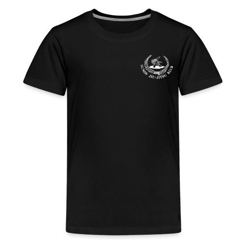 hvid logo på brystet eller ryggen - Teenager premium T-shirt