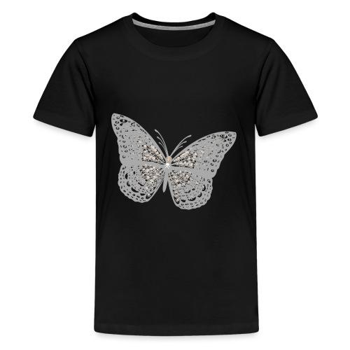 Süßer Schmetterling mit filigranen Totenköpfen - Teenager Premium T-Shirt