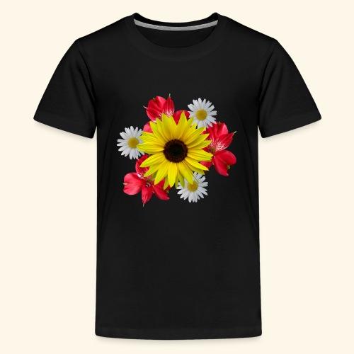 Blumenstrauß, Sonnenblume, Margeriten, rote Blumen - Teenager Premium T-Shirt