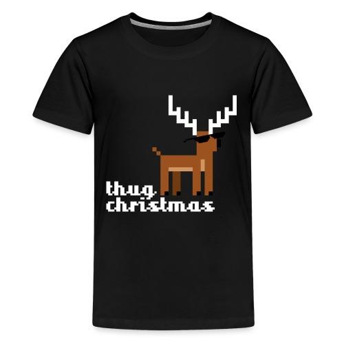 Christmas Xmas Deer Pixel Funny - Teenage Premium T-Shirt