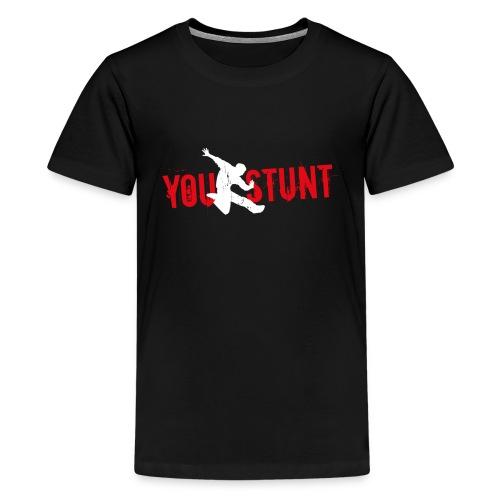 Youstunt Logo Digitaldruck ohne Claim Weiß Rot - Teenager Premium T-Shirt