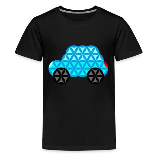 The Car Of Life - 01, Sacred Shapes, L/Blue. - Teenage Premium T-Shirt