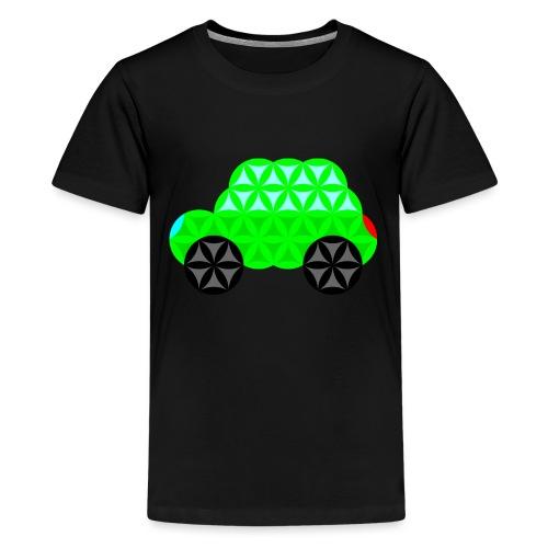 The Car Of Life - M01, Sacred Shapes, Green/R01. - Teenage Premium T-Shirt
