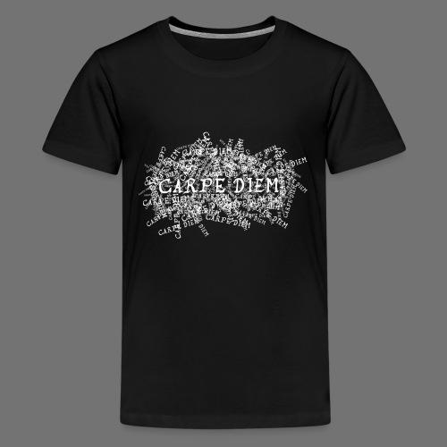carpe diem (valkoinen) - Teinien premium t-paita