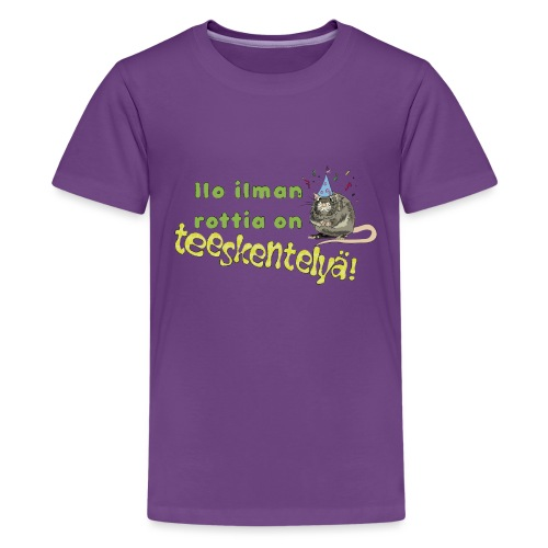 Ilo ilman rottia - kuvallinen - Teinien premium t-paita