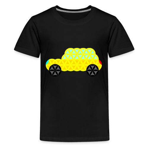 The Car Of Life - 02, Sacred Shapes, Yellow. - Teenage Premium T-Shirt