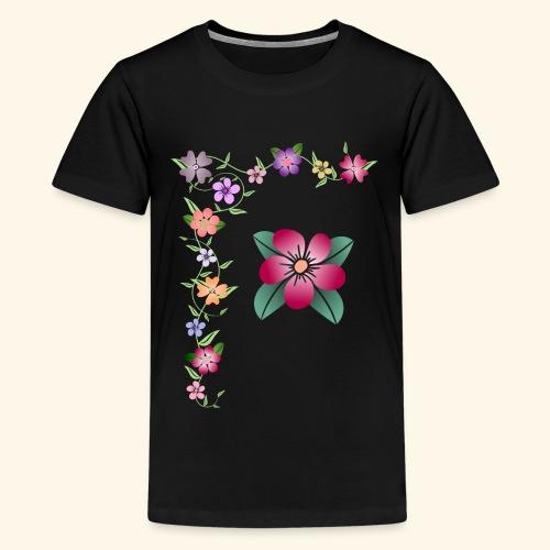 Blumenranke, Blumen, Blüten, floral, blumig, bunt - Teenager Premium T-Shirt