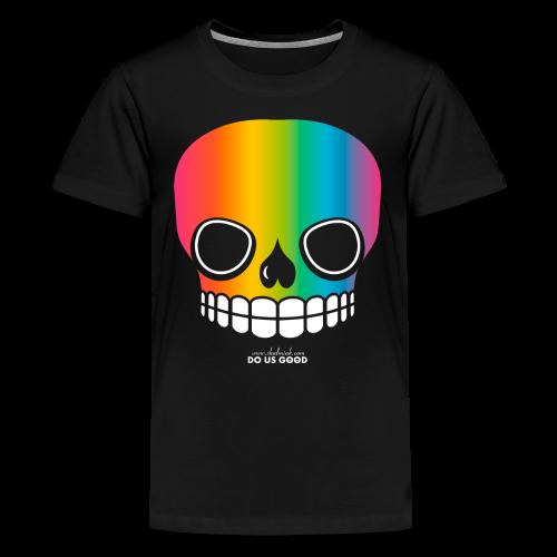 JUST SKULL rainbow - Teinien premium t-paita