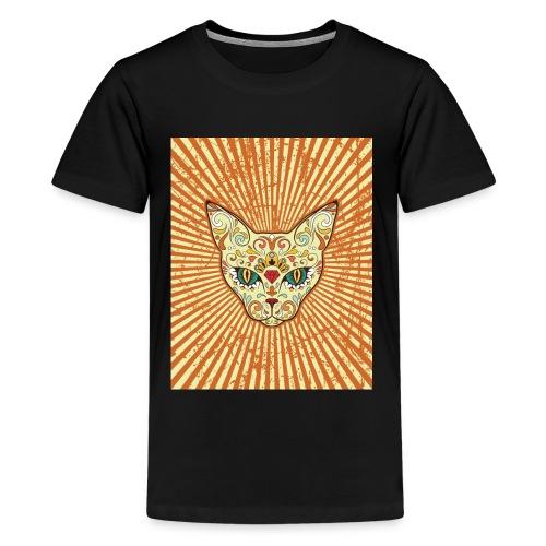 cat calavera grunge effect t shirt design - Maglietta Premium per ragazzi