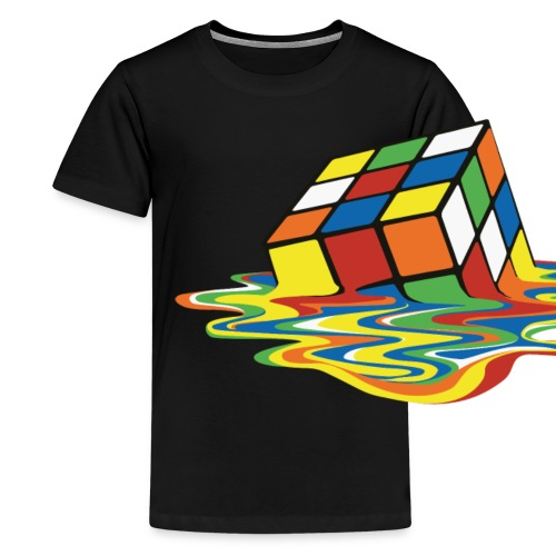 Rubik's Cube Melted Colourful Puddle - Premium-T-shirt tonåring