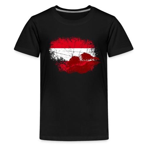 Fahne Österreich Kussmund/Lippen - Fanshirt - Teenager Premium T-Shirt