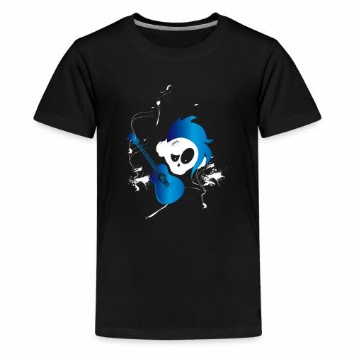 Eves Adam || Hairy Guitar Skully Blue - Teenager Premium T-Shirt