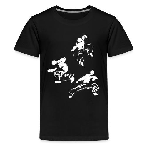 Kung fu circle / ink fighter in motion - Teenage Premium T-Shirt