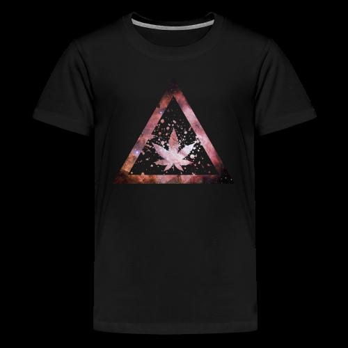 Galaxy Weed Marijuana Triangle Splashes - Teenager Premium T-Shirt