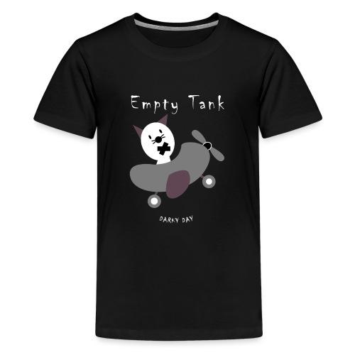 Cute cat flies in the plane, the tank is empty. - Teenage Premium T-Shirt
