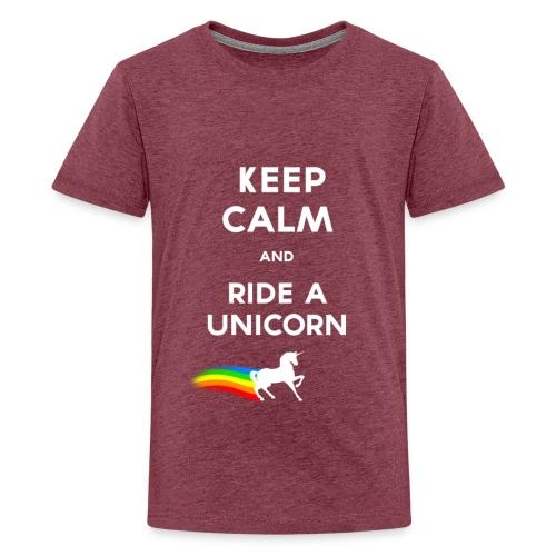 Keep calm and ride a unicorn White png - T-shirt Premium Ado