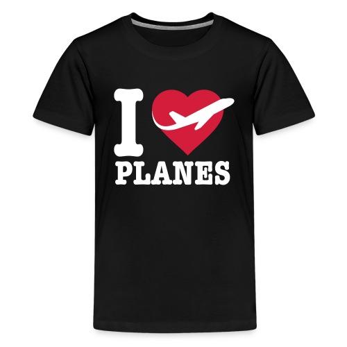 Rakastan lentokoneita - valkoisia - Teinien premium t-paita