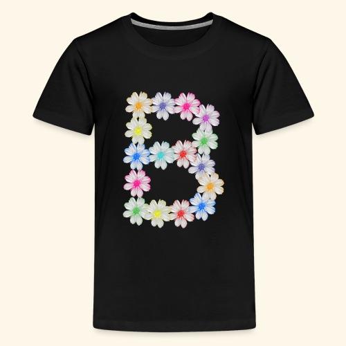 Buchstabe B aus Blumen, floral, Kosmee Blüten - Teenager Premium T-Shirt