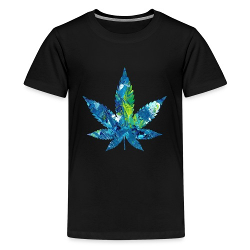 Artful cannabis leaf in acrylic paint - Teenage Premium T-Shirt