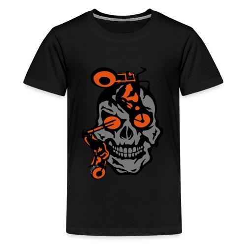 tete mort moto motrocycle oeil skull - T-shirt Premium Ado