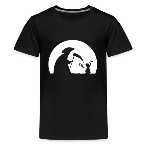 Hase Kaninchen Möhre Tod Sensenmann Karotte bunny - Teenager Premium T-Shirt