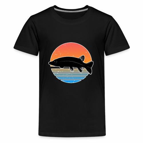 Retro Hecht Angeln Fisch Wurm Raubfisch Shirt - Teenager Premium T-Shirt