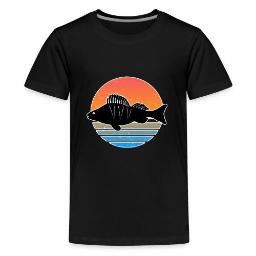 Retro Barsch Angeln Fisch Wurm Raubfisch Shirt - Teenager Premium T-Shirt