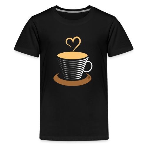 0252 Coffee   Love   Heart   Cup   coffee pot - Teenage Premium T-Shirt
