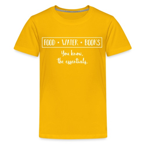 0265 The essentials! Food, water and books. - Teenage Premium T-Shirt
