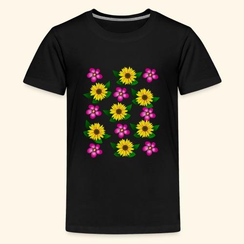 Sonnenblumen, pinke Blumen, floral, Blüten, pink - Teenager Premium T-Shirt