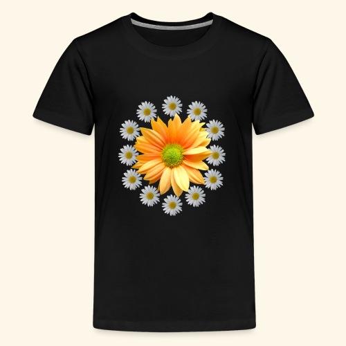 Margeriten mit einer orangen Chrysantheme, Blumen - Teenager Premium T-Shirt
