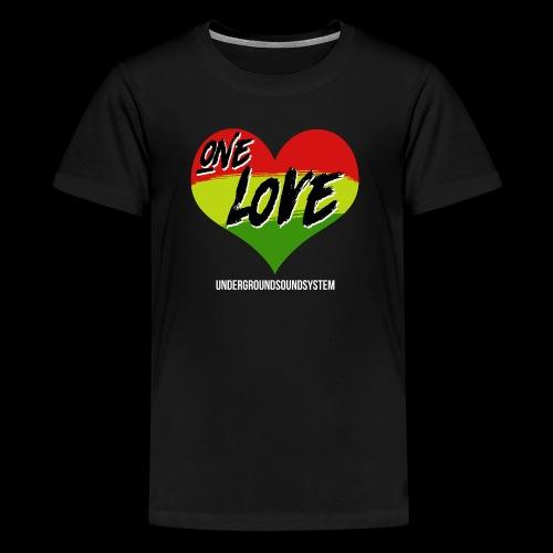 ONE LOVE - HEART - Teenager Premium T-Shirt